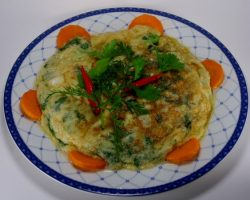 Carrot leaves omelet