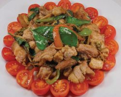 Pork with red curry paste