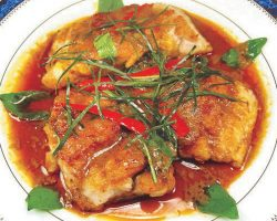 Panang curry over crispy fish