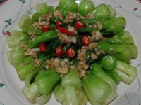 Young Bok choy stir-fried with chili-garlic and oyster sauce.